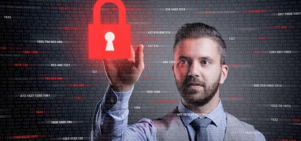 Hipster businessman showing concept of online business security on virtual screen